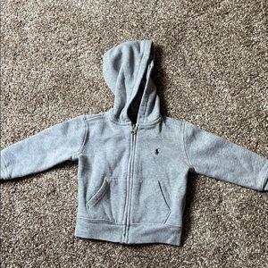 Polo Full Zip Grey Fleece Jacket Hoodie 2/2T L37